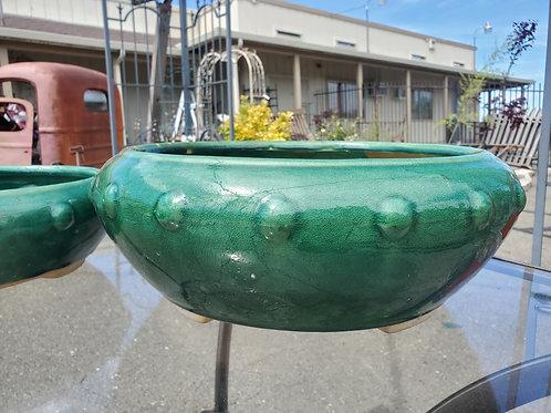 """Glazed green bowl pot lrge approx 15"""" wide x 6"""" tall"""