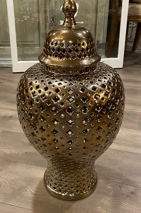 Metallic bronze ginger jar with lid 11 inch diameter by 28 inches tall