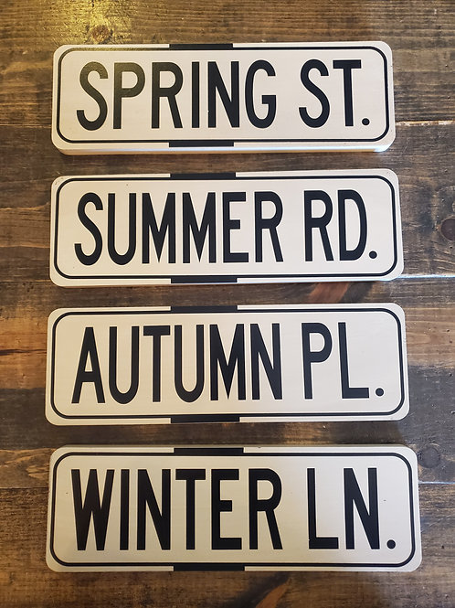 "Set of 4 Wooden Season Signs - Each measure 11 3/4"" wide x 3 3/4"" tall"