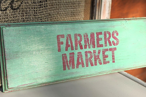 "Handmade Teal turquoise farmers market sign with hanger  Dimensions 16"" L x 5.5"""