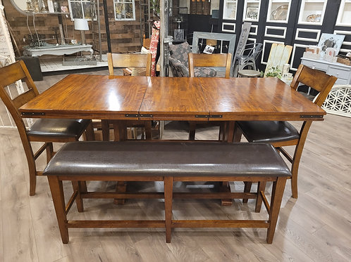 Pub Height Dining Table w/ Leaf, 4 Chairs & Bench