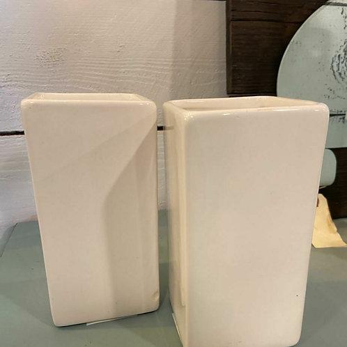 "White Rectangle Vase 6""H x 3"" W Ceramic"