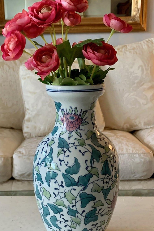 """Blue/Green Vase with Pink Flowers! 10 1/2""""H."""