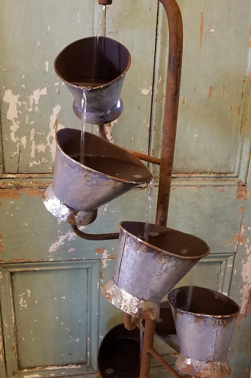 "Galvanized Pail Fountain W/Pump! 47"" tall"