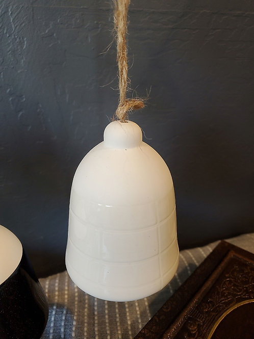 "White Ceramic Bell - 5"" bell and 12"" total height with rope"