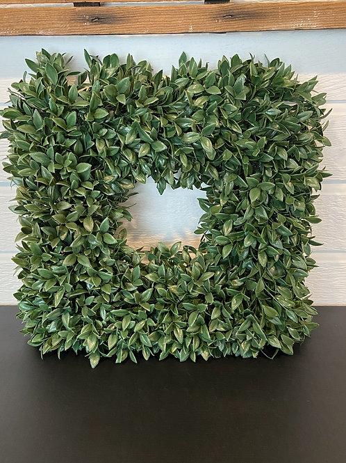 Faux boxwood square wreath 17 x 17