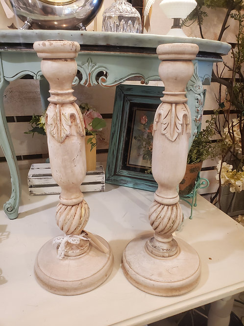"Set of 2 - Shabby Candle Sticks 18"" tall"