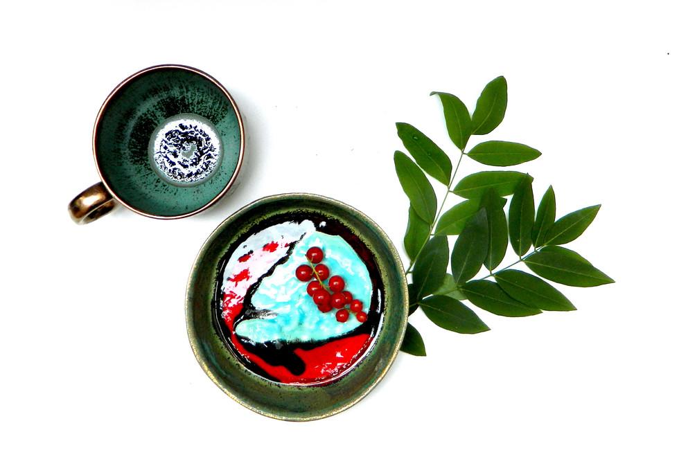 Farfurie Landscape I si Ceasca Green Jewel