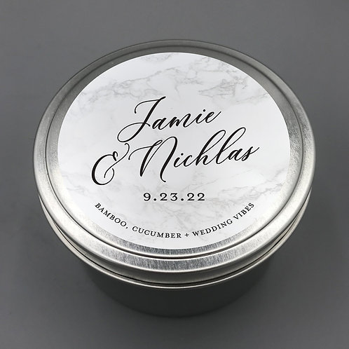 Set of 12 Personalized Wedding Favor Candle Travel Tins