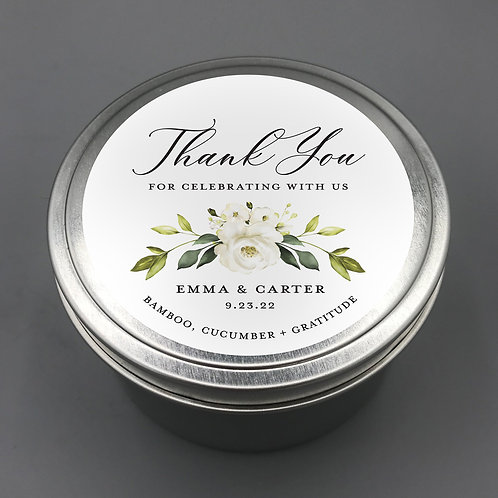 Set of 12 Personalized Thank You  Favor Candle Travel Tins