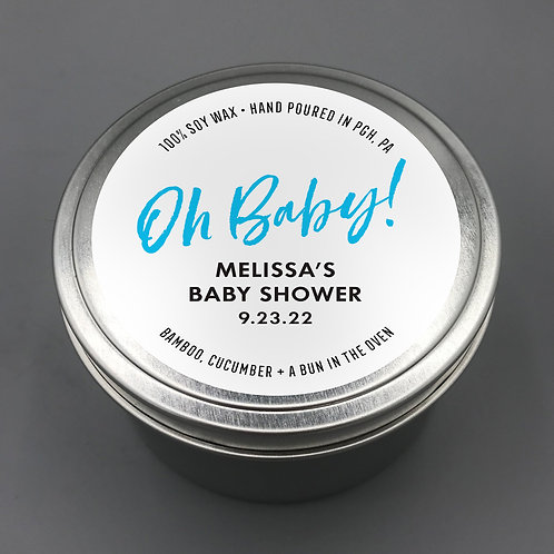 Set of 12 Personalized Baby Shower  Favor Candle Travel Tins