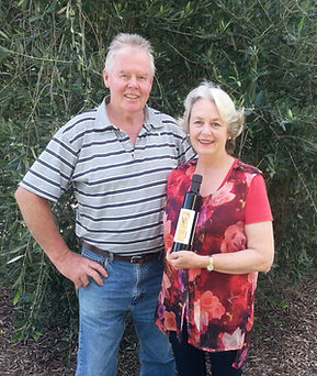 Villa Grove owners, Phil and Rachel Costello with their award-winning olive oil