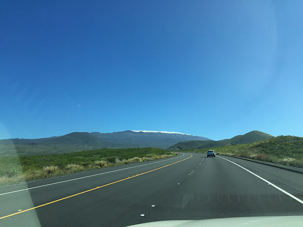 Saddle Road highway on Hawaii Big Island with Mauna Kea