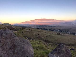 Mauna Kea at sunset from Kohala Mountain Road on Hawaii Big Island. World's most beautiful drives.