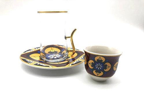 トルコチャイグラスとトルココーヒーカップ セット(持ち手付き)17