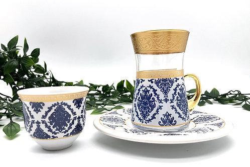 トルコチャイグラスとトルココーヒーカップ セット(持ち手付き)