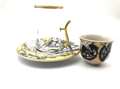 トルコチャイグラスとトルココーヒーカップ セット(持ち手付き)16
