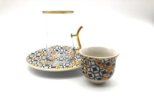 トルコチャイグラスとトルココーヒーカップ セット(持ち手付き)18