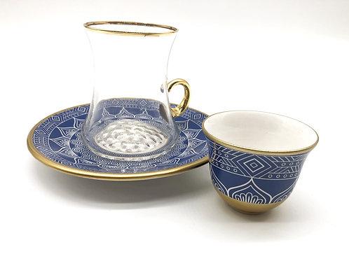 トルコチャイグラスとトルココーヒーカップ セット(持ち手付き)14