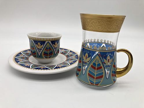 トルコチャイグラスとトルココーヒーカップ セット(持ち手付き)10