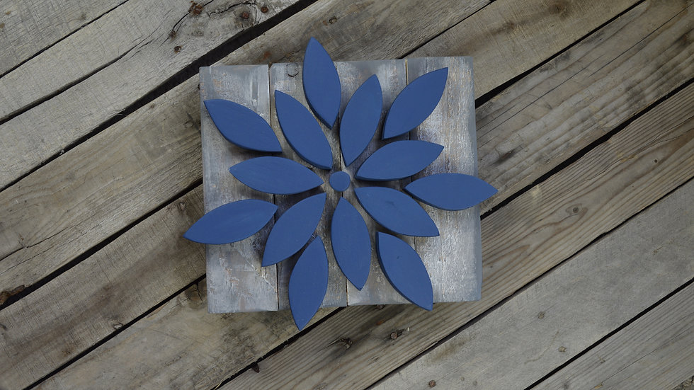 Small Flower Sign - Navy on Weathered Gray