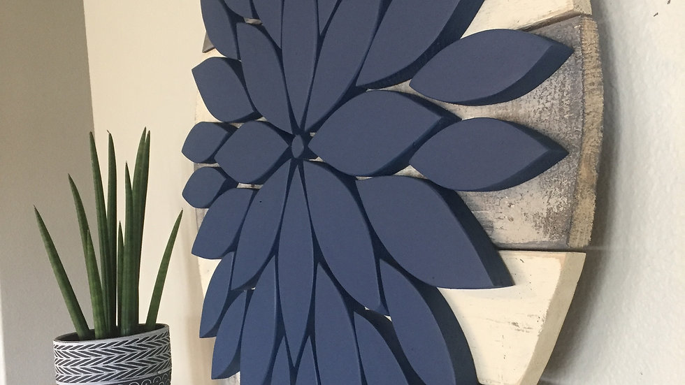 Large Flower Sign - Navy on Weathered Gray/White