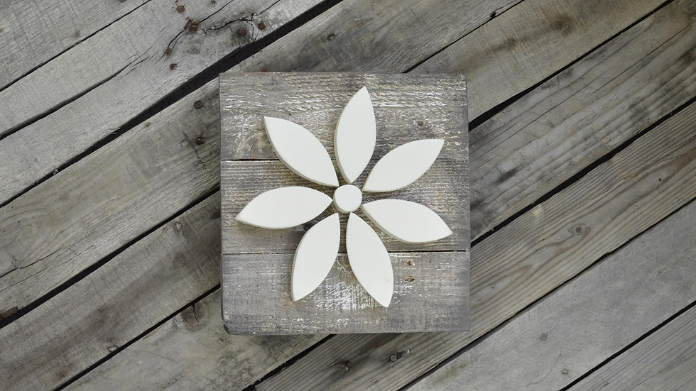 Small Flower Sign - Antique White on Weathered Wood