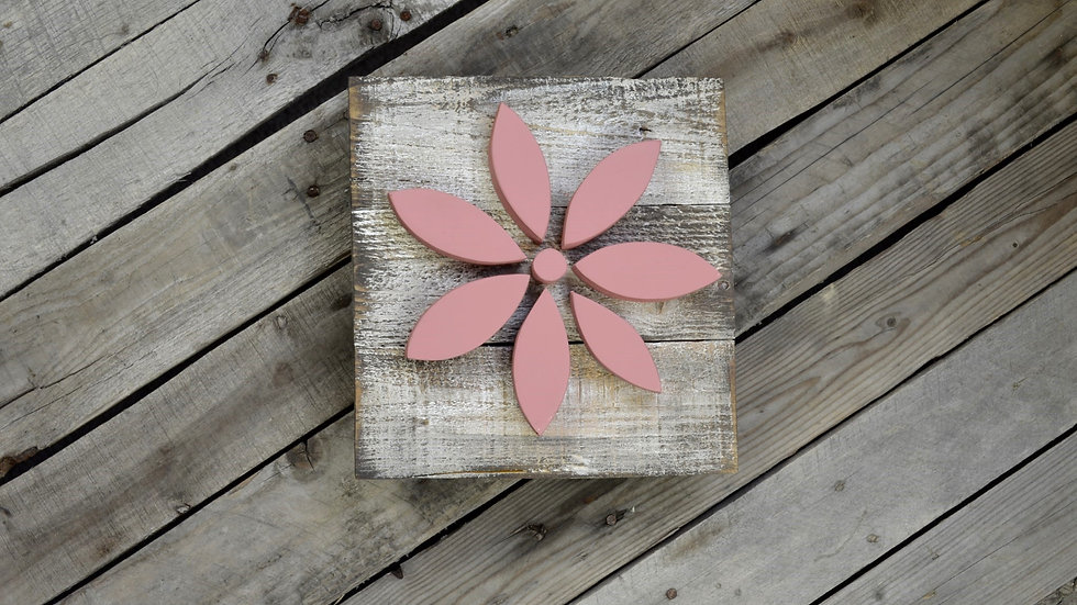 Small Flower Sign - Dusty Rose on Weathered Wood