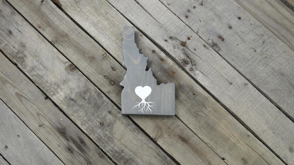 Idaho Cutout Sign - Heart Roots