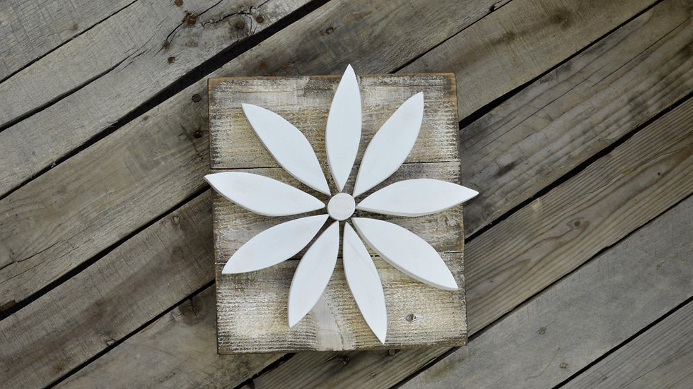 Small Flower Sign - White on Weathered Wood