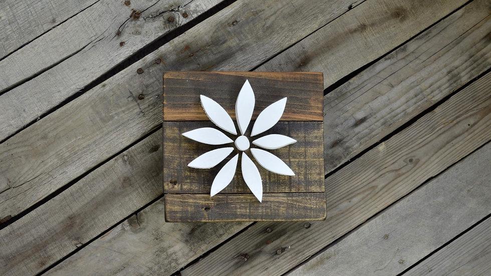 Small Flower Sign - White on Dark Brown