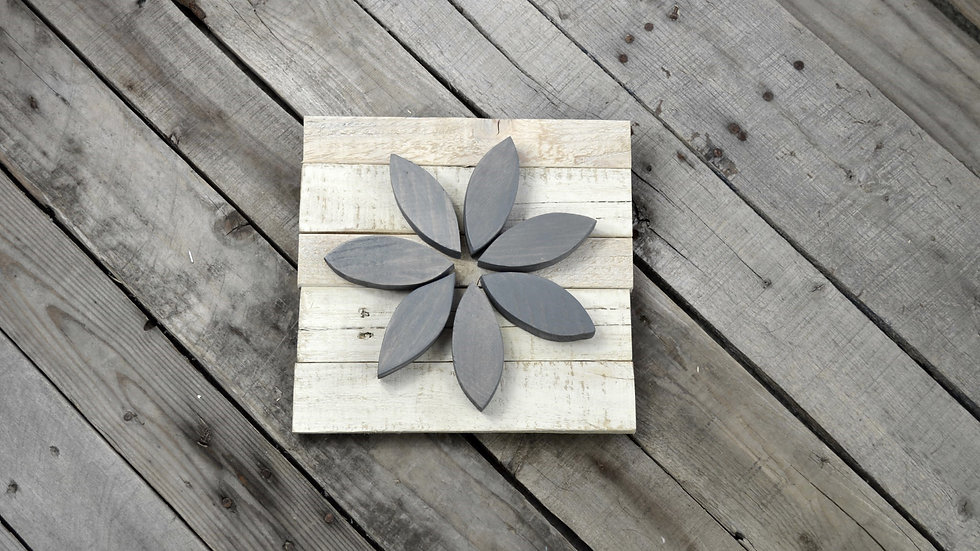 Small Flower Sign - Gray on White