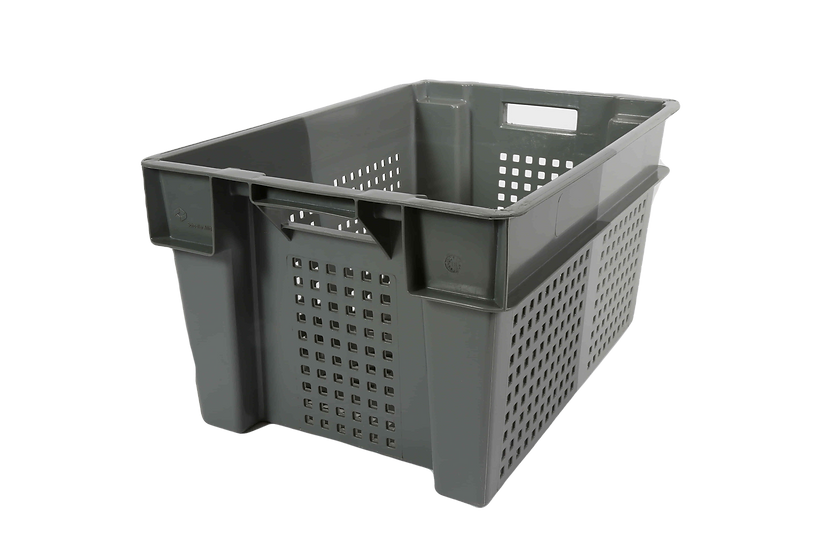 Two Tone Stacking and Nesting Tray Perforated - 50 Litres