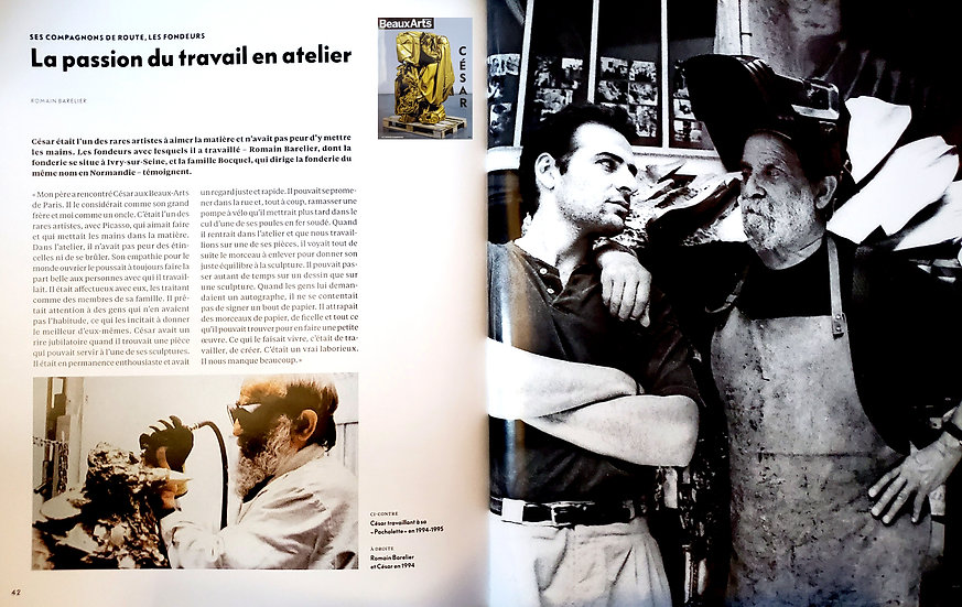 Fonderie Romain Barelier article dans le magazine Beaux Arts