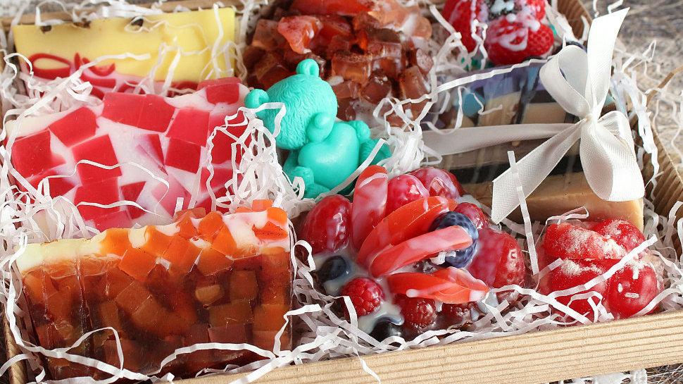 Большой набор мыла ручной работы Подарок сладкоежке