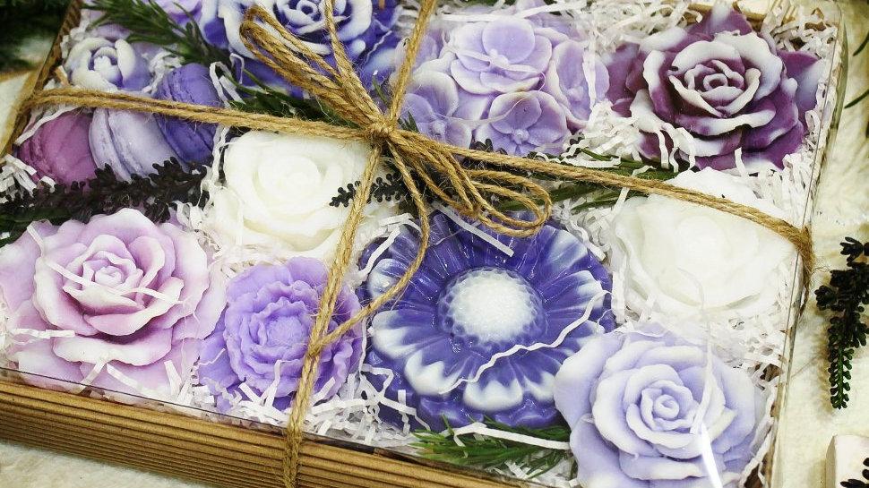 Подарочный набор косметического мыла Сиренево-Лиловый