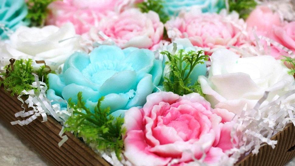 Большой набор цветов из мыла Зефирная сказка