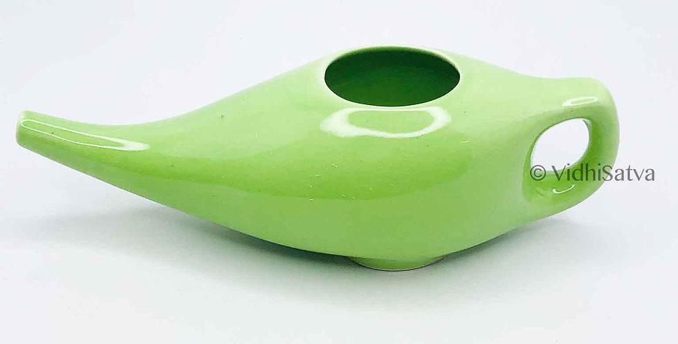 Ceramic Jal Neti Pot Green