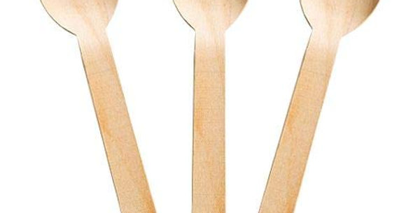 Bagasse Wooden Spoons | 16cm | Pack of 50 | Eco-Friendly | Disposable