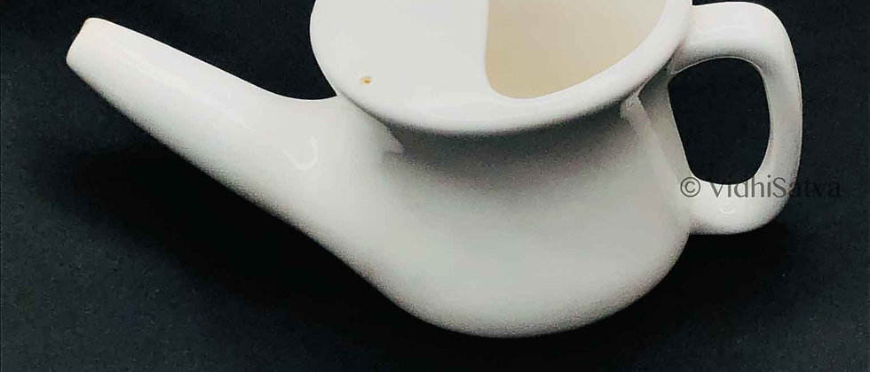 Ceramic Jal Neti Pot White Design B