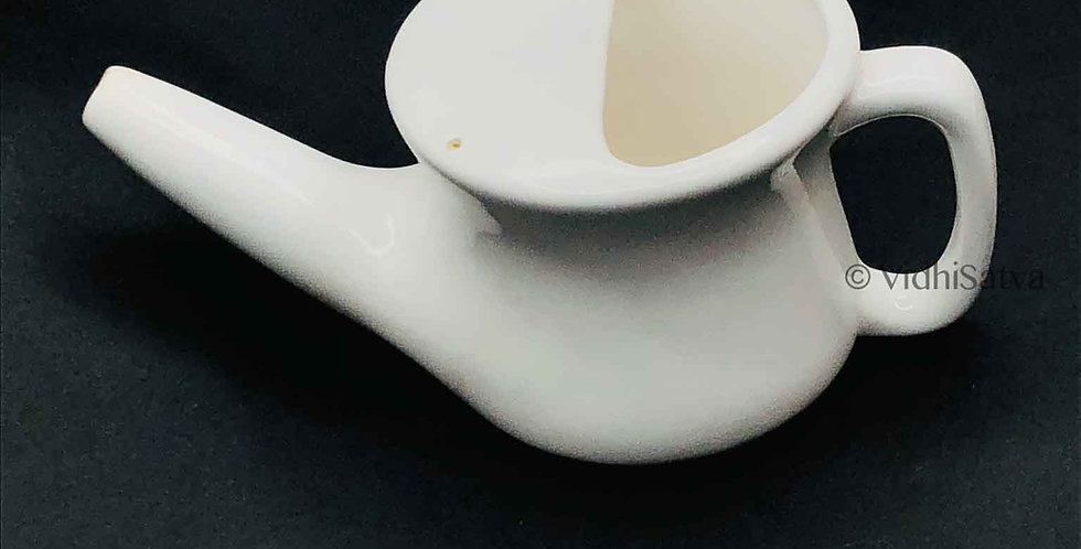 Ceramic Jal Neti Pot White Design B