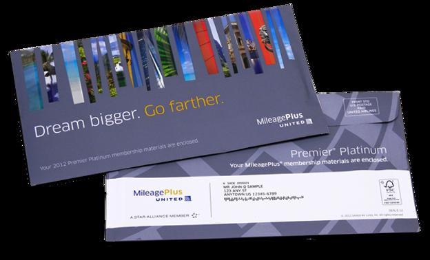 United MileagePlus Rewards standard envelope