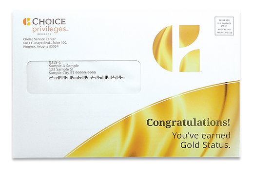 Choice Privileges mailing envelope