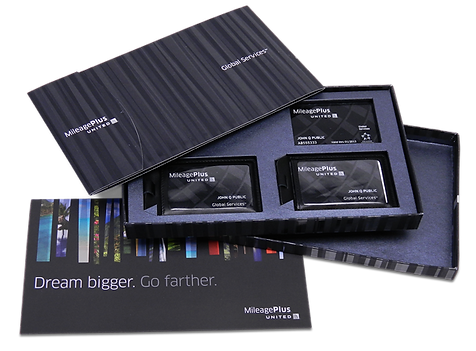 United MileagePlus Rewards elite kit with member cards and bag tag