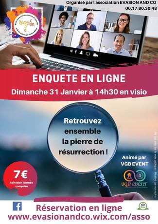 """Les inscriptions pour l'activité """"Enquête en ligne"""" du dimanche 31 Janvier 2021 sont ouvertes"""