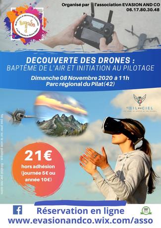 """Les inscriptions pour la sortie """"Découverte des drones"""" du dimanche 08 novembre 2020 sont ouvertes"""
