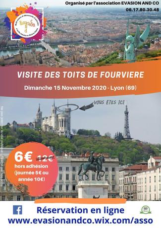 """Les inscriptions pour la sortie """"Toits de Fourvière"""" du dimanche 15 novembre 2020 sont ouvertes"""