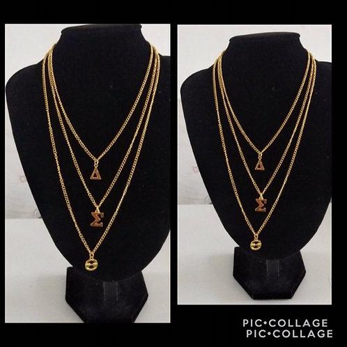 Gold 3 Tier Greek Letter Necklace