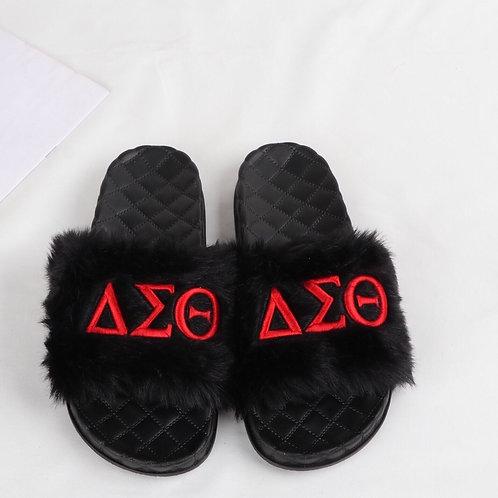 Embroidered Greek Letter Faux Fur Slides