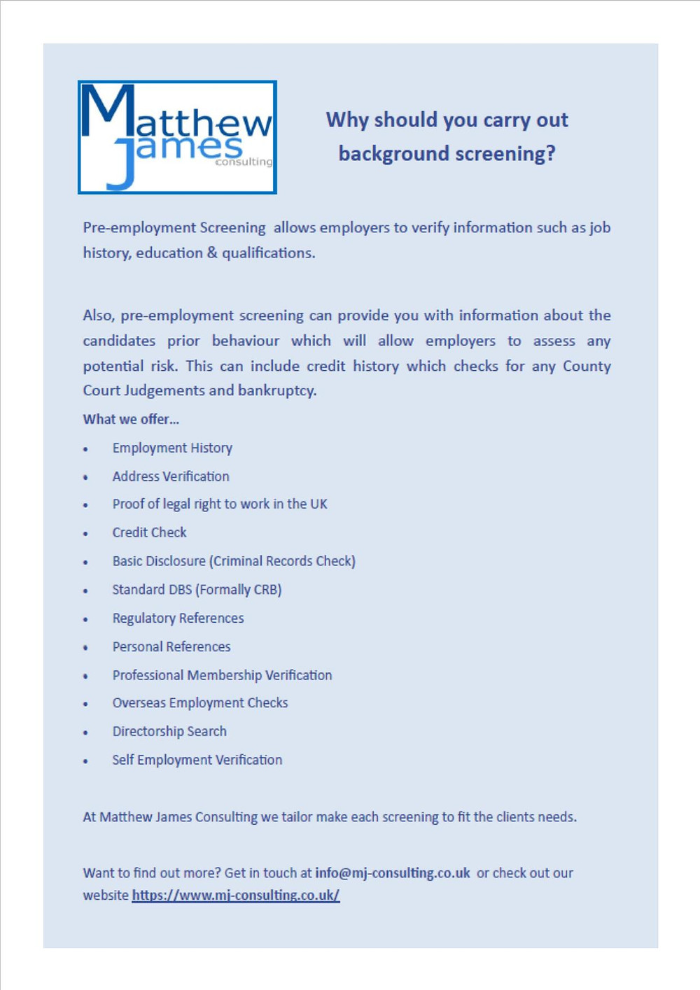 Background Screening Pre-employment Checks